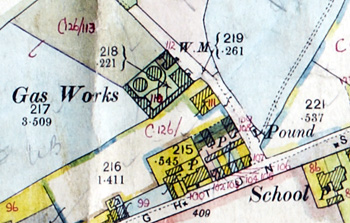 The location of Woburn gas works in Timber Lane [DV2/B24]